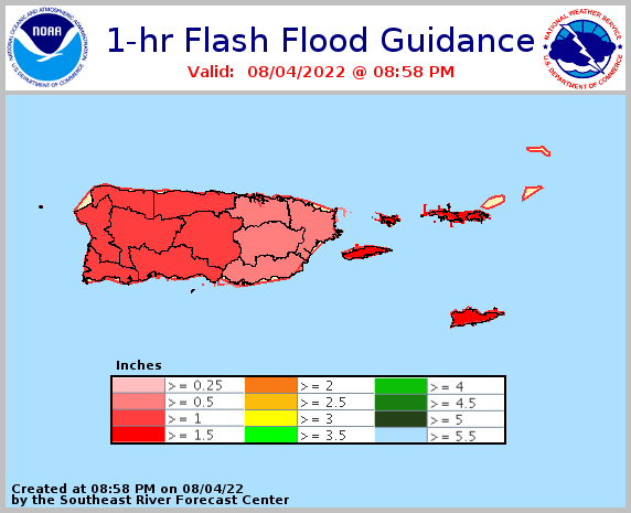1 hour flash flood guidance for Puerto Rico