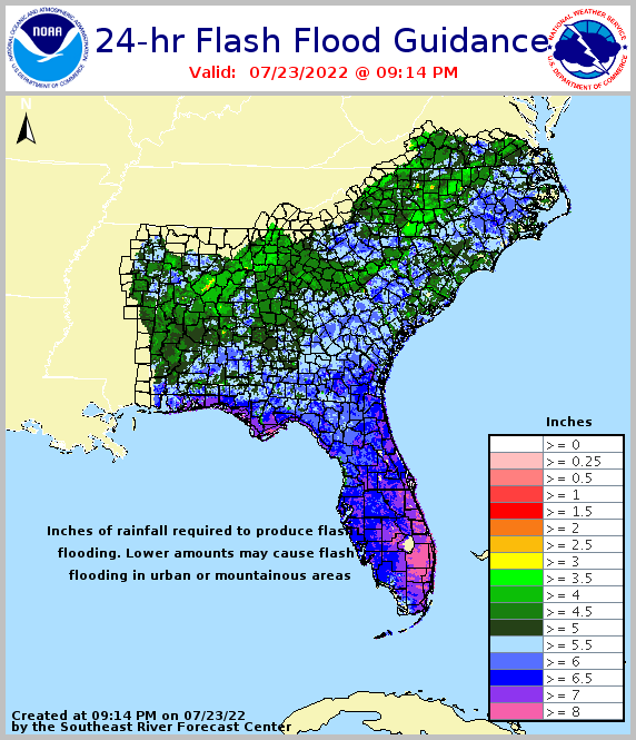24-hour flash flood guidance for the Southeast U.S.
