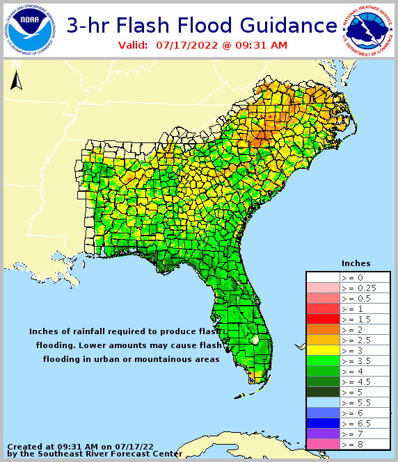 3 hour flash flood guidance for southeast U.S.