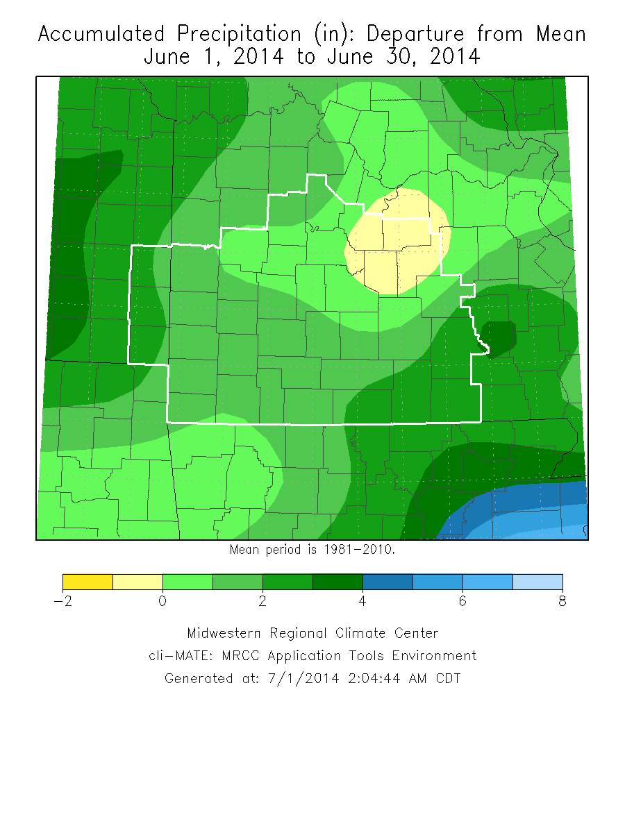 June 2014 Precipitation Departure from Normal