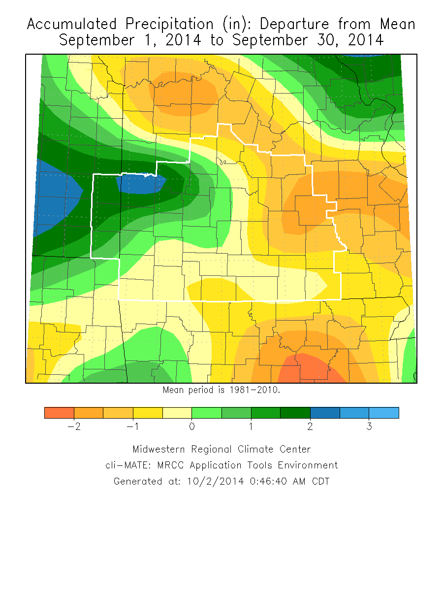 September 2014 Precipitation Departure from Normal