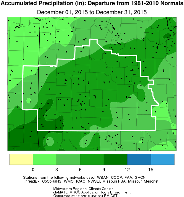 December 2015 Precipitation Departure from Normal
