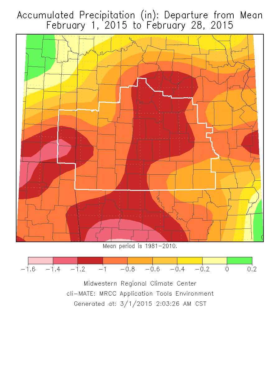 February 2015 Precipitation Departure from Normal