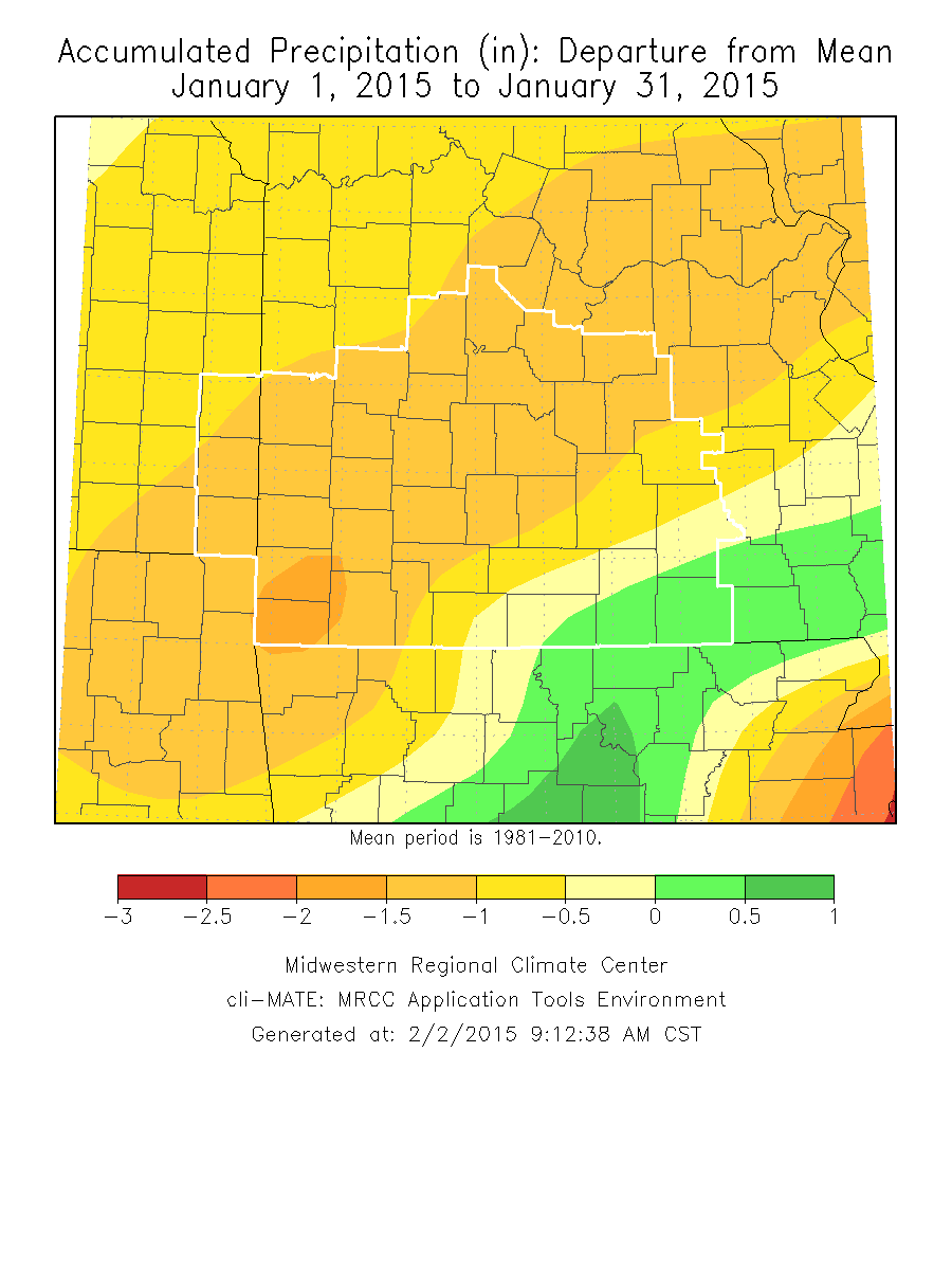 January 2015 Precipitation Departure from Normal