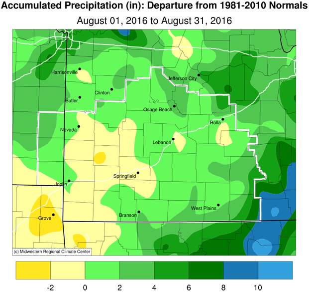 August 2016 Precipitation Departure from Normal
