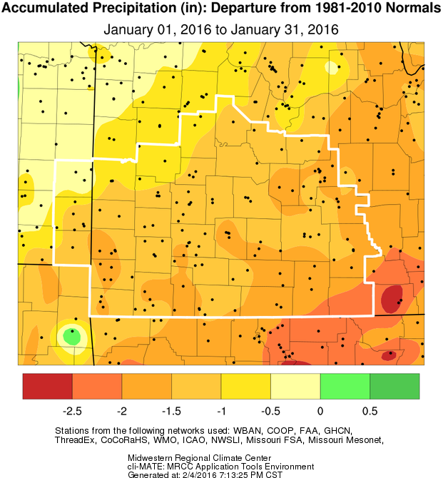 January 2016 Precipitation Departure from Normal