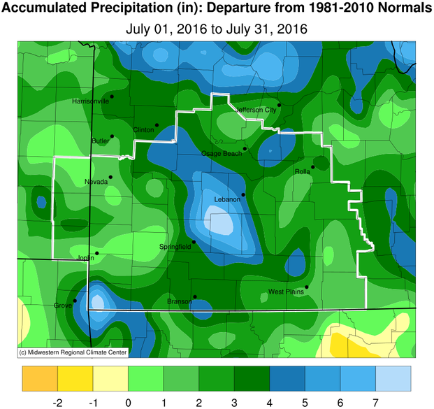 July 2016 Precipitation Departure from Normal