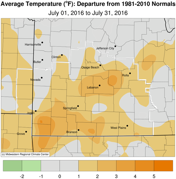 July 2016 Average Temperature Departure from Normal