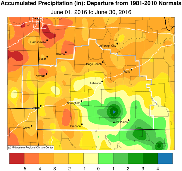 June 2016 Precipitation Departure from Normal