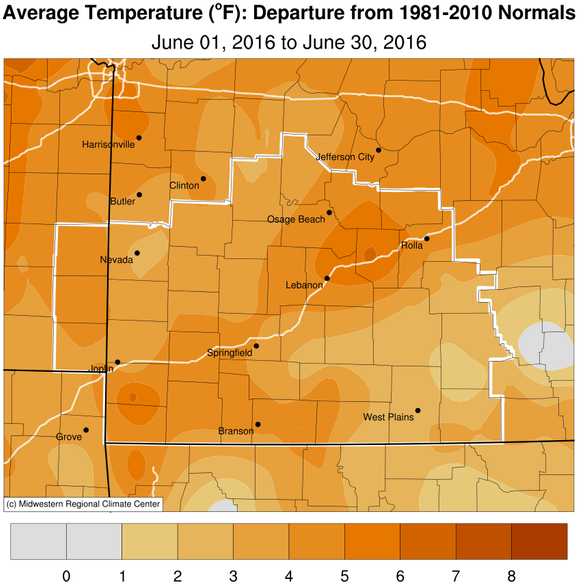 June 2016 Average Temperature Departure from Normal