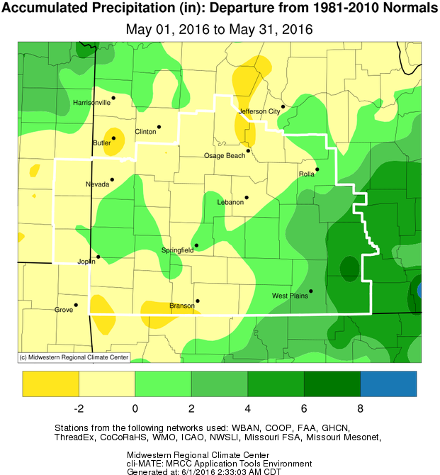 May 2016 Precipitation Departure from Normal
