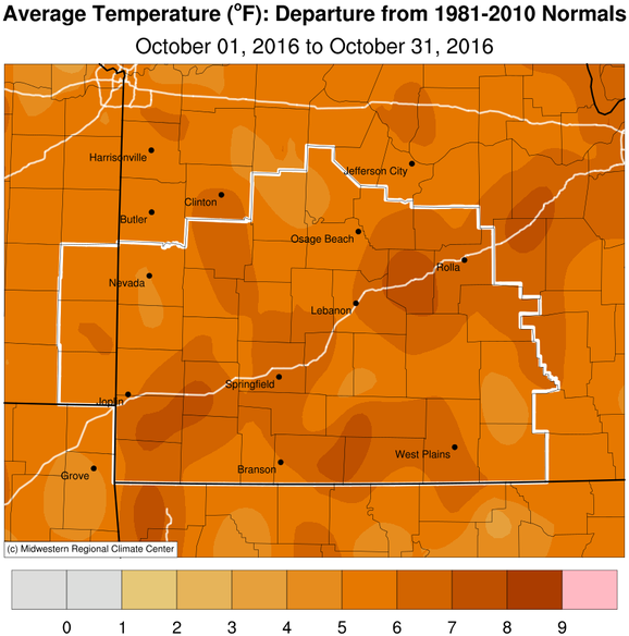 October 2016 Average Temperature Departure from Normal