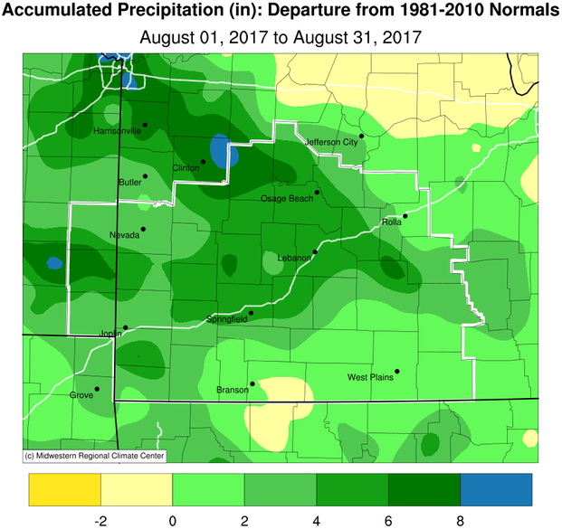 August 2017 Precipitation Departure from Normal
