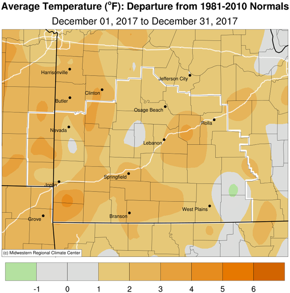 December 2017 Average Temperature Departure from Normal