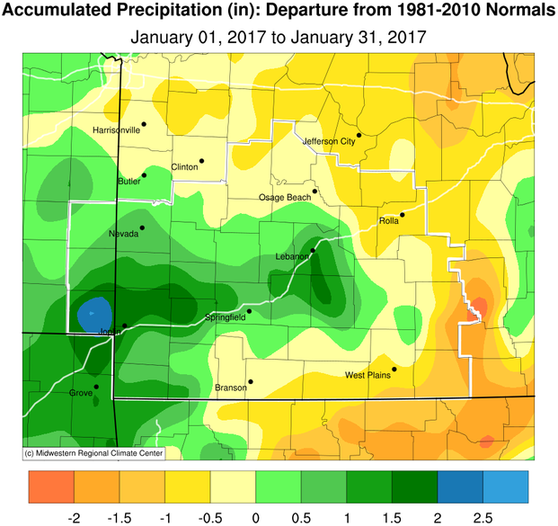 January 2017 Precipitation Departure from Normal