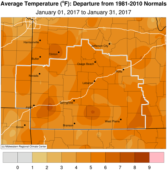 January 2017 Average Temperature Departure from Normal