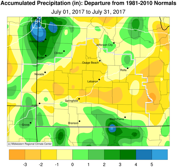 July 2017 Precipitation Departure from Normal