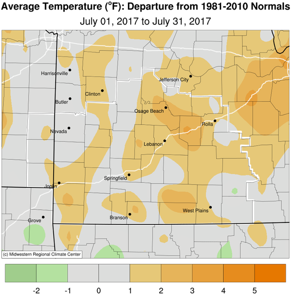July 2017 Average Temperature Departure from Normal