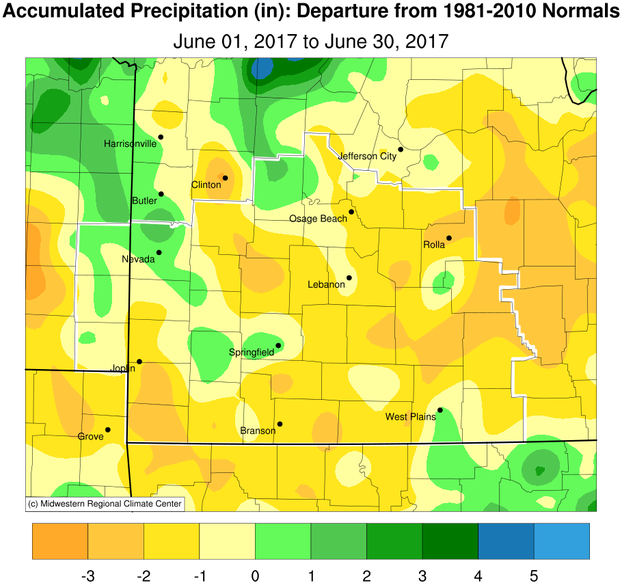 June 2017 Precipitation Departure from Normal