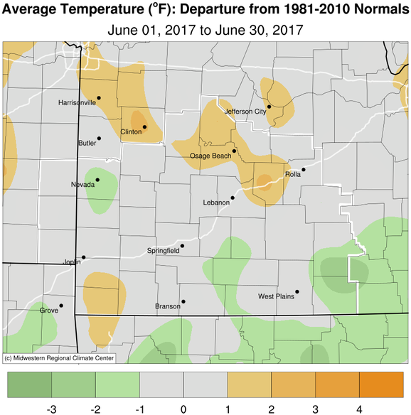 June 2017 Average Temperature Departure from Normal