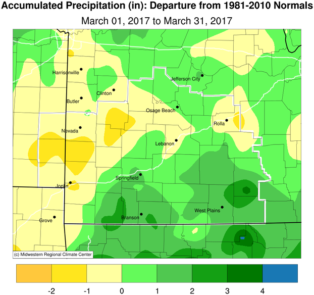 March 2017 Precipitation Departure from Normal
