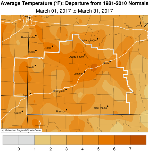March 2017 Average Temperature Departure from Normal