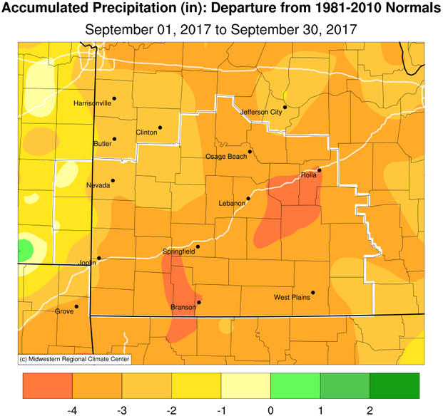 September 2017 Precipitation Departure from Normal