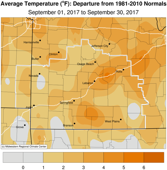 September 2017 Average Temperature Departure from Normal