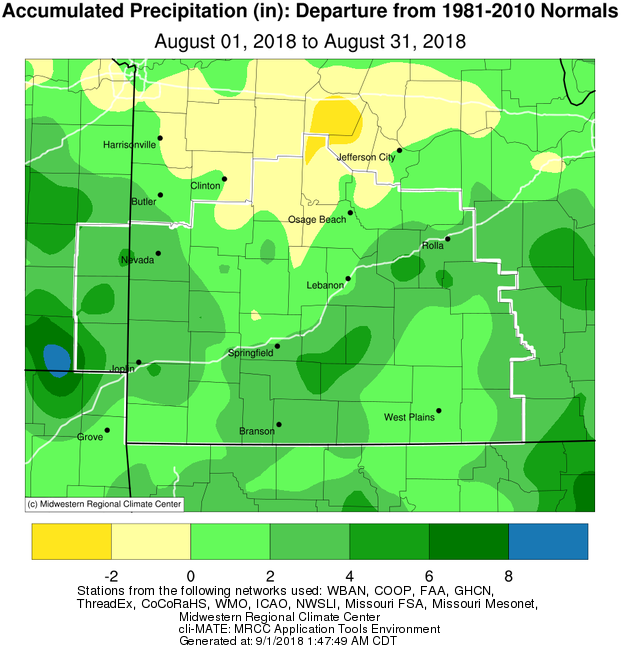 August 2018 Precipitation Departure from Normal
