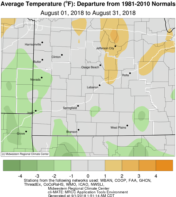 August 2018 Average Temperature Departure from Normal