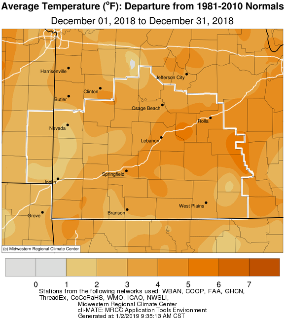 December 2018 Average Temperature Departure from Normal