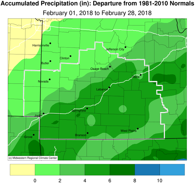 February 2018 Precipitation Departure from Normal