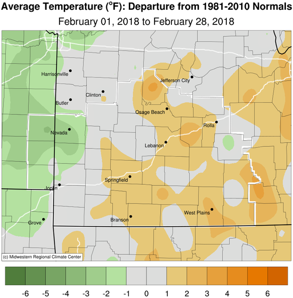 February 2018 Average Temperature Departure from Normal