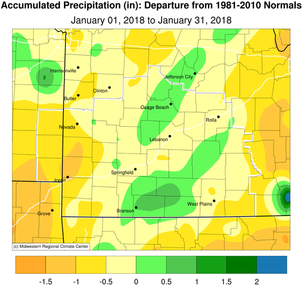 January 2018 Precipitation Departure from Normal