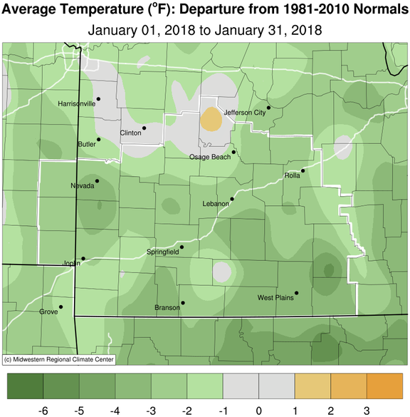 January 2018 Average Temperature Departure from Normal