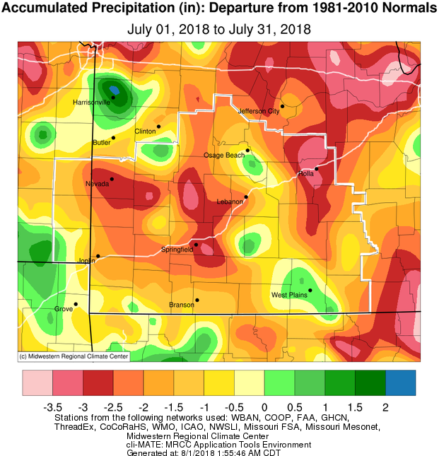 July 2018 Precipitation Departure from Normal