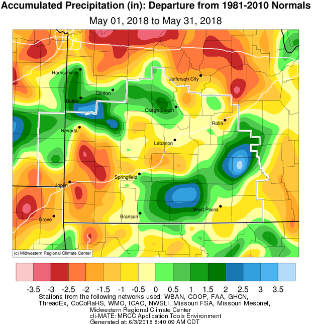 May 2018 Precipitation Departure from Normal