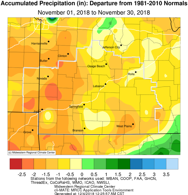 November 2018 Precipitation Departure from Normal