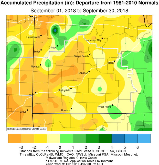 September 2018 Precipitation Departure from Normal