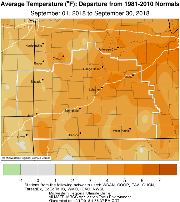 September 2018 Average Temperature Departure from Normal