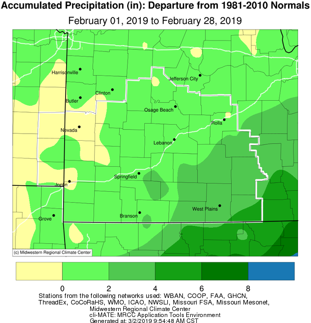 February 2019 Precipitation Departure from Normal
