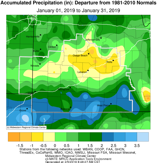 January 2019 Precipitation Departure from Normal