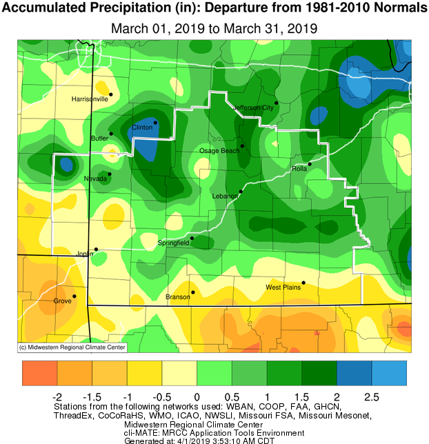 March 2019 Precipitation Departure from Normal