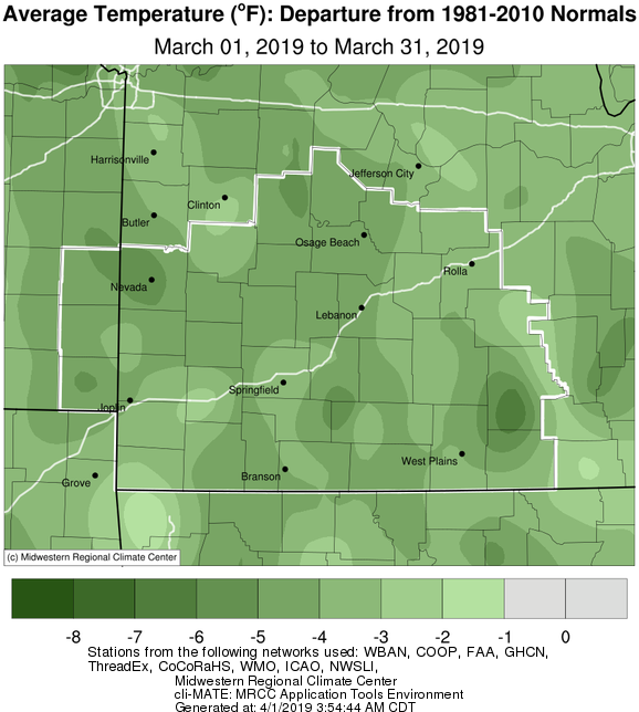 March 2019 Average Temperature Departure from Normal
