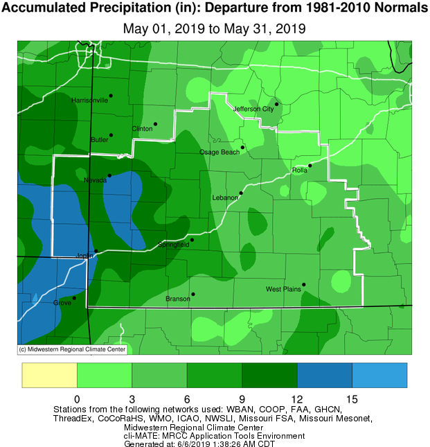 May 2019 Precipitation Departure from Normal