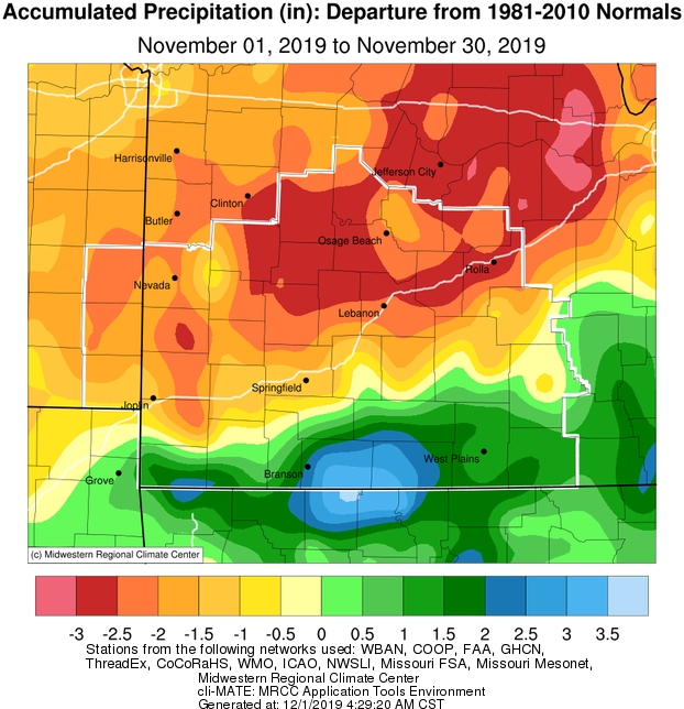 November 2019 Precipitation Departure from Normal