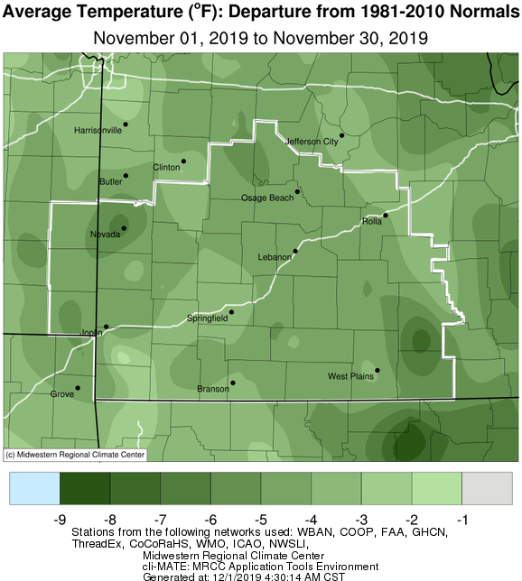 November 2019 Average Temperature Departure from Normal