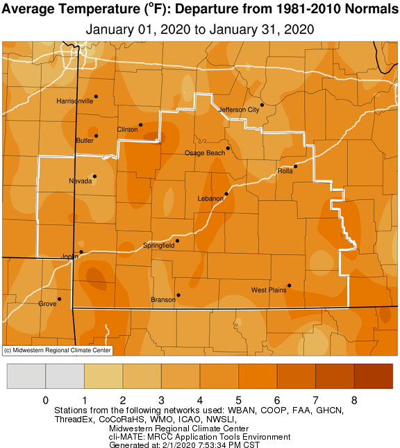 January 2020 Average Temperature Departure from Normal