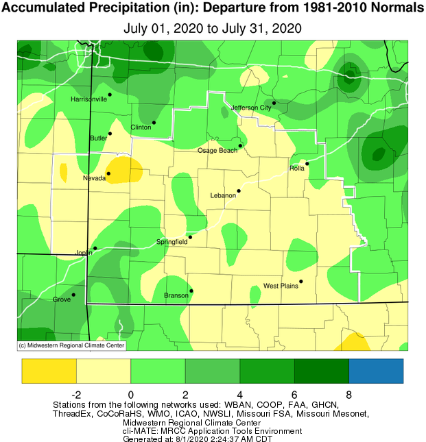 July 2020 Precipitation Departure from Normal