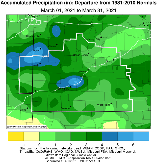 March 2021 Precipitation Departure from Normal